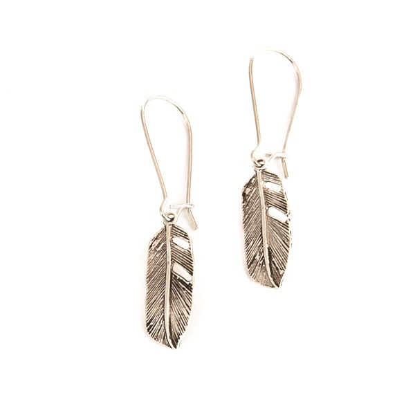 Easy to wear feather earrings in silver, from Nest of Pambula.