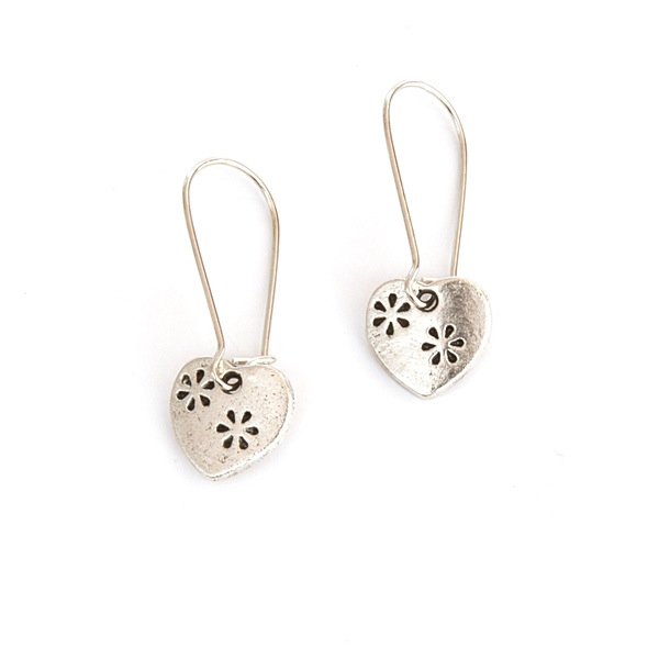 Easy to wear heart earrings in silver, from Nest of Pambula.