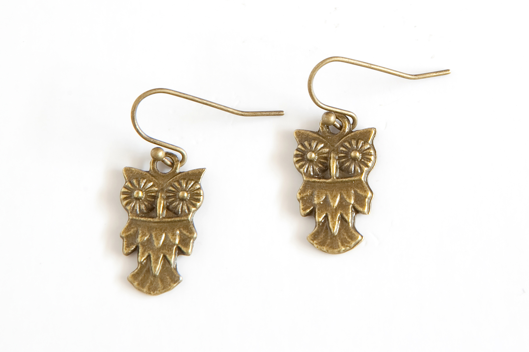 wise owl earrings, bronze, small by Nest of Pambula