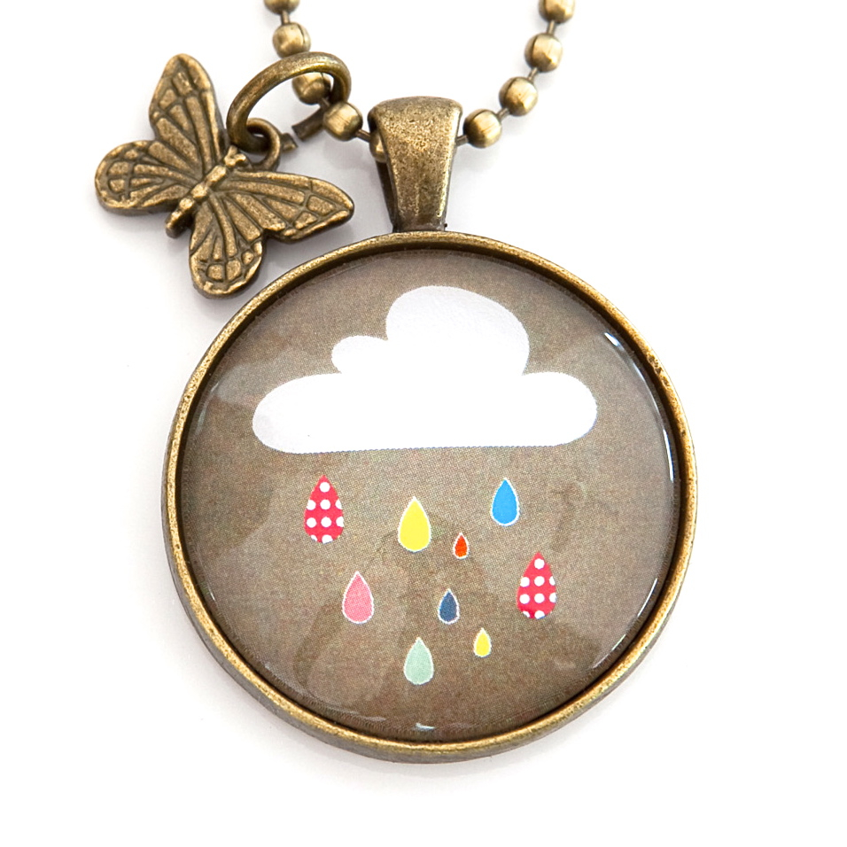 Cloud Pendant with Butterfly Charm in Antique Bronze from Nest of Pambula