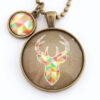 Elk in Geometric pendant with Geo Mini Charm