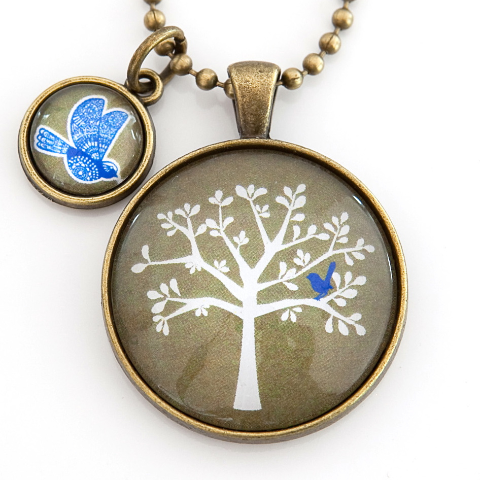 Blue Bird Pendant with Blue Bird Mini Charm in Antique Bronze from Nest of Pambula